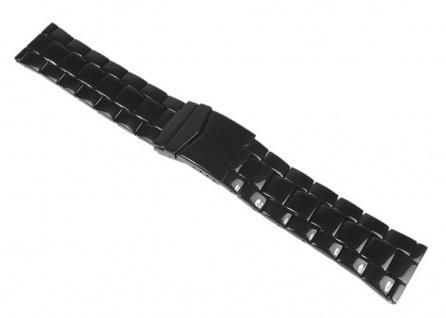 Minott Uhrenarmband Edelstahl Band - Massiv schwarz mit Sicherheitsfaltschließe 24410B