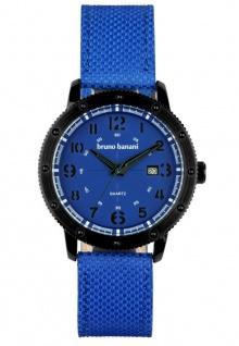 Bruno Banani Geros Herrenuhr Edelstahl blau Analog Quarz 3ATM Datum BR30002