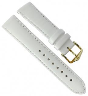 HIRSCH | Uhrenarmband > Leder, weiß mit Naht > Dornschließe | Kurze-Länge | 36458