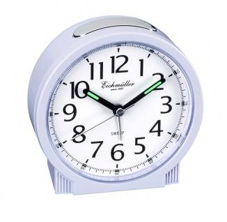 Wecker Alarm Analog Snooze Kunststoff weiß rund mit schleichender Sekunde