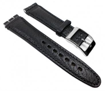 Minott Swiss Uhrenarmband Leder schwarz genarbt, 19mm für Swatch Uhren