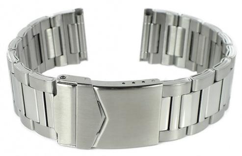 Edelstahlband Uhrenarmband 22mm / 24mm | silberarben mit Faltverschluss 32313