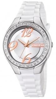 Calypso Damenarmbanduhr Quarzuhr Kunststoffuhr mit Polyurethanband und Glitzersteinchen analog K5679
