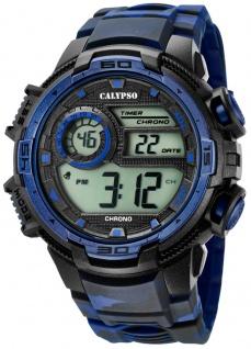 Calypso Herrenarmbanduhr Quarz Digital Kunststoff mit Alarm schwarz/blau K5723/1