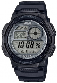 Casio Collection Digitaluhr schwarz 5 Tagesalarme LED Light AE-1000W-7AVEF