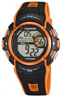Calypso Herrenarmbanduhr Quarzuhr Kunststoffuhr digital mit Stoppfunktion Alarm Timer schwarz/orange K5610/7