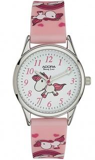 Adora Young Line Armbanduhr Kinderuhr rosa Silikonband Metallgehäuse silbern