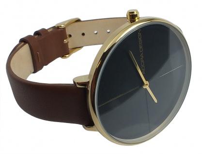 Adora Damen Armbanduhr Ø 38mm schwarzes Lederband Edelstahlgehäuse 3Bar