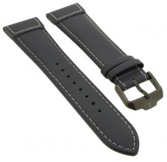 Junghans Meister Pilot Chronoskope Ersatzband 22mm grau Uhrenarmband Leder mit Naht 027/3795