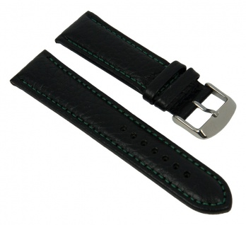 Minott Uhrenarmband Kalbsleder Band schwarz mit grüner Kontrastnaht 27447S