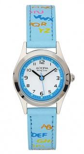 Adora Young Line   analoge Quarz Armbanduhr aus Edelstahl mit blauem Kunststoffband   36116