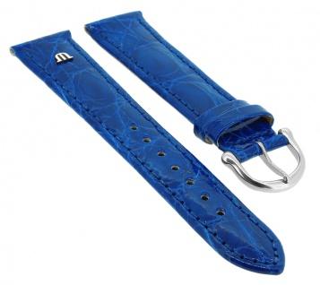 Maurice Lacroix Kroko | Echtes Krokodilleder | Uhrenarmband mit Naht, blau / royalblau 34798