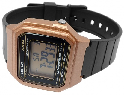 Casio Collection Digital Herrenuhr Resin schwarz /rosegoldfaben W-217HM-5AVEF