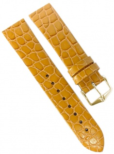 HIRSCH | Uhrenarmband > Leder, goldbraun mit Krokoprägung > Dornschließe | Standard-Länge | 36425