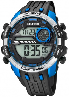 Calypso   Herrenarmbanduhr Quarzuhr Digitaluhr Kunststoffuhr mit Alarm Stoppuhr schwarz/blau K5729/3