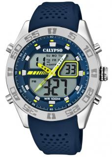Calypso Armbanduhr PU-Band blau Kunststoff Quarzwerk Analog Digitaluhr K5774/3 K5774