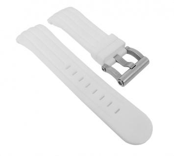 Uhrenarmband Silikon Band 24mm weiß passend zu Uhren mit ? 48mm TW STEEL TW-123 TW-608