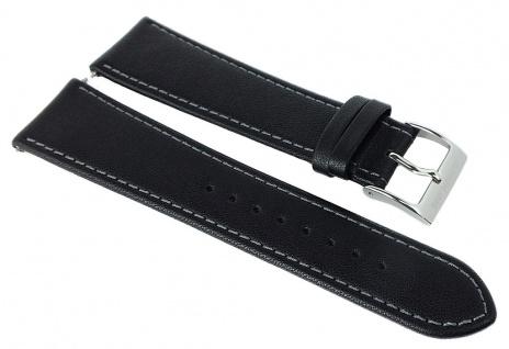 Junghans Chronoskope Ersatzband 21mm Leder schwarz Kontrastnaht 027/3380
