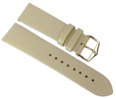 HIRSCH | Uhrenarmband > Leder, beige ohne Naht > Dornschließe | Kurze-Länge | 36499