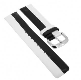 Bruno Banani Ersatzband 21mm aus Leder in weiß/schwarz Schließe silberfarben CD1523