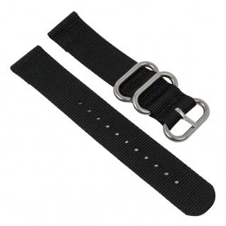 Uhrenarmband Textil Band schwarz mit silberfarbenen Metallschlaufen Minott 28208S
