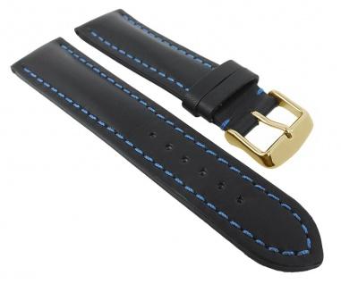 Herzog Uhrenarmband Swiss-Chrono Ersatzband erhältlich in schwarz, blaue Naht 29114