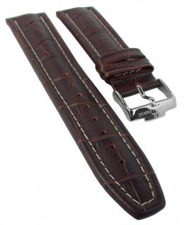 Jacques Lemans Uhrenarmband 22mm aus Leder in braun mit Kontrastnaht 1-1117