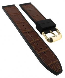 Herzog Uhrenarmband 20mm oder 22mm   Silikon/Leder-Mix, braun mit Naht 32242G