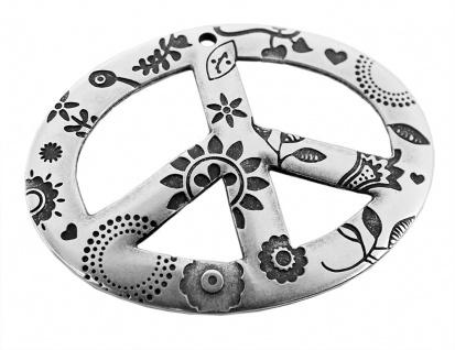 Minott Kette Schmuck Anhänger Peace Messing im Used Look Oval 27923