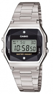 Casio Uhr Retro Collection Digital Edelstahl silbern mit Diamanten A158WEAD-1EF