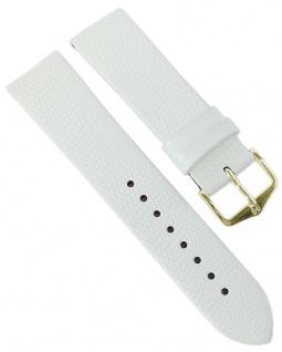 HIRSCH | Uhrenarmband > Leder, weiß mit Eidechsenprägung > Dornschließe | Kurze-Länge | 36408