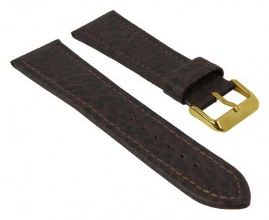 Uhrenarmband   aus Büffelkalbsleder / grob genarbt   d.braun mit Naht   35079