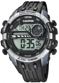 Calypso | Herrenarmbanduhr Quarzuhr Digitaluhr Kunststoffuhr mit Alarm Stoppuhr schwarz/grau K5729/1