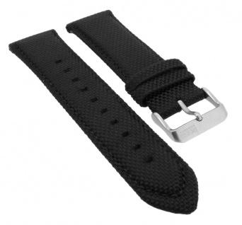 Hugo Boss Uhrenarmband Textil/Leder schwarz/orange mit Naht 24mm 1513116 33077S