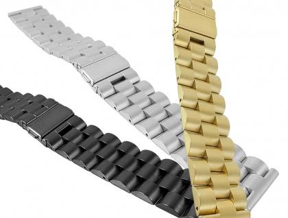Edelstahl Uhrenarmband 22mm   in silbern, golden oder schwarz 30114