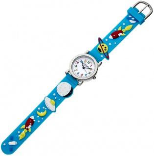 Eichmüller Kinderuhr analog Uhr blau Armbanduhr Edelstahl Silikon Weltallmuster