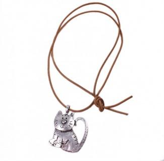 Minott Kette braunes Leder zum verknoten mit Anhänger Kater - Katze im Antik Design 21315