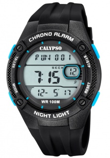 Calypso Digital Armbanduhr PU-Band schwarz Kunststoff Quarzuhr Uhr Digitaluhr K5765/1 K5765