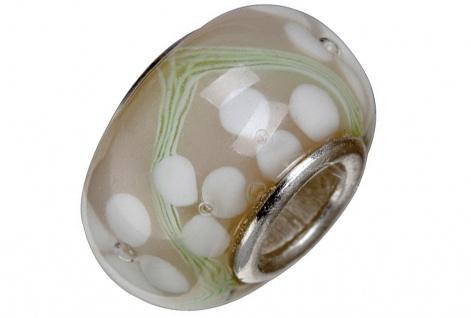 Charlot Borgen Marken Damen Bead Beads Drops Kristallglas Silberkern GPS-04Weiß