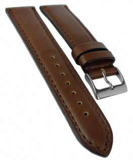 Herzog Neapel Uhrenarmband 20mm Leder Naht Band braun Dornschließe