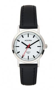 Damen Adora Armbanduhr | Lederband, schwarz | Edelstahlgehäuse | 5 bar > 37840