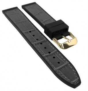 Herzog Uhrenarmband 20mm oder 22mm   Silikon/Leder-Mix, grau mit Naht 32241G
