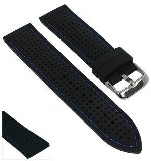 Minott Uhrenarmband Silikon Band 22mm schwarz mit farbigen Kontrastnaht 29694 - Vorschau 4