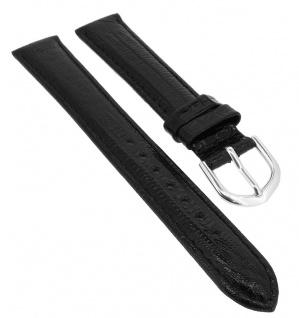 Minott Lederband mit Eidechsprägung | schwarz mit Naht | Nubuk-Unterseite 34155