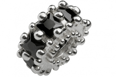 Charlot Borgen Marken Damen Bead Beads Drops Silber mit Zirkonia SCZ-11-schwarz