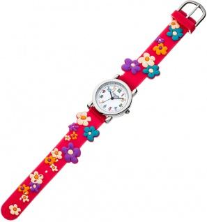 Eichmüller Kinderuhr analog rot Edelstahl Uhr Silikon bunte Blumenmotiv 34964