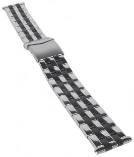 Minott Uhrenarmband Edelstahl Band silbern/schwarz glänzend/mattiert 31171