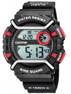 Calypso Herrenarmbanduhr Quarzuhr digital Kunststoff mit Silikonband Stoppuhr schwarz/rot K5764/6