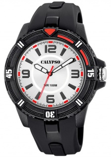 Calypso Herrenuhr analog Quarz Kunststoff linksdrehbarer Lünette schwarz K5759/1