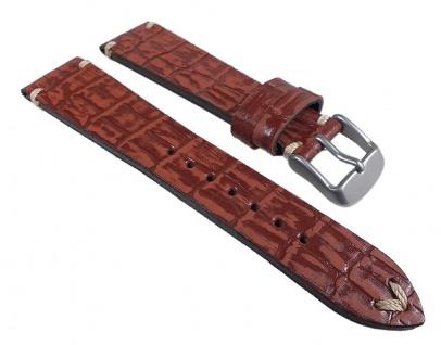 Ersatzband Antik-Optik Uhrenarmband Leder Braun, Kroko Prägung 24929S /16